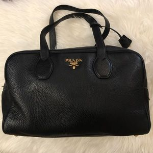 PRADA Blk Leather Bauletto Bag Pre-Loved Gorgeous